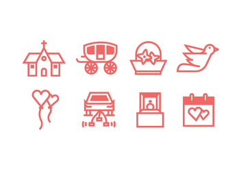 Classic Wedding Icons Set - Free vector #429209