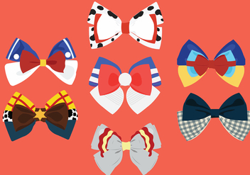 Patterned Hair Ribbon Vector Pack - Free vector #429259