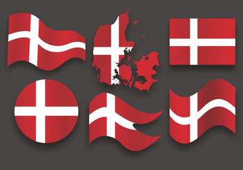 Danish Flag Vector Set - vector gratuit #429269