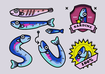 Sardine Fish Cartoon Vector Illustration - Free vector #429379