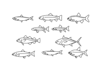 Free Fish Line Illustration Vector - бесплатный vector #429399