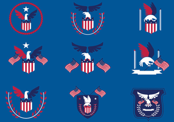 Eagle Seal Blue Red Free Vector - Free vector #429529