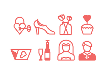 Linear Wedding Ceremony Icons - Free vector #429559