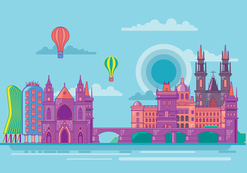 Famous Prague Landmarks Towers and Bridge Vector - Free vector #429609
