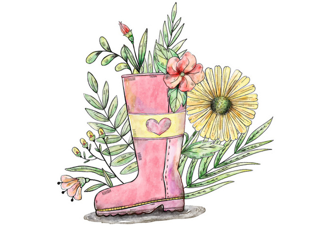 Spring and Flower Filled Garden Boot Vector - бесплатный vector #429619