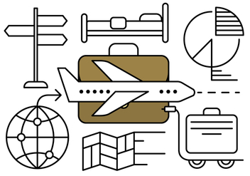 Linear Business Travel Vector Elements - Free vector #429699