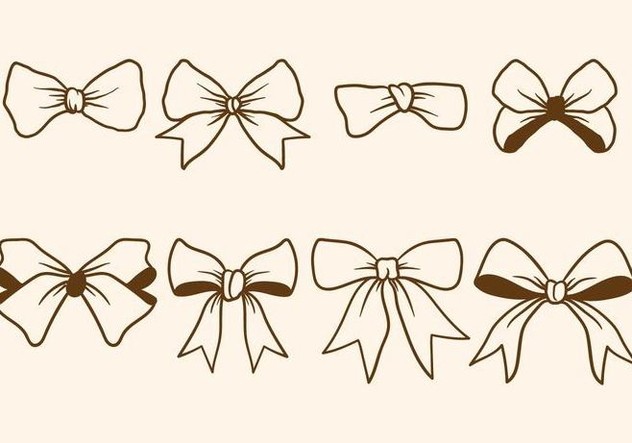 Hand Drawn Hair Ribbon Vectors - Free vector #429819