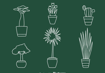 House Pot Plant Line Vectors - бесплатный vector #429869