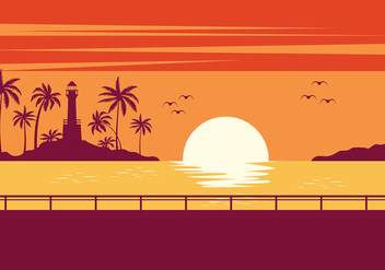 Playa Sunset Free Vector - vector gratuit #429929