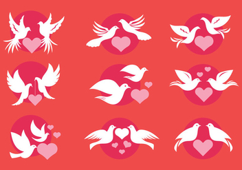 Dove or Paloma Love Symbols of Minimalist Style Vectors - Free vector #430119