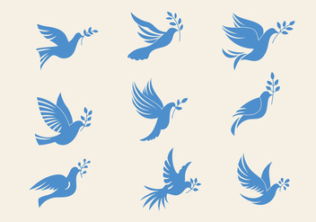 Set of Dove or Paloma The Peace of Symbol Minimalist Illustration - Free vector #430129