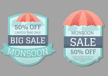 Monsoon Badge or Label Collection - Free vector #430189