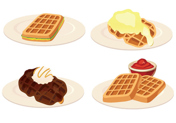 Waffles Vector Illustration - Free vector #430309