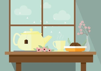 Pleasant Morning Tea Vector Illustration - Free vector #430319