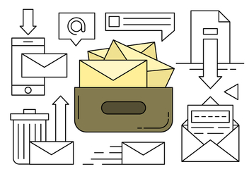 Linear Collection of Mail and Message Icons - vector #430379 gratis