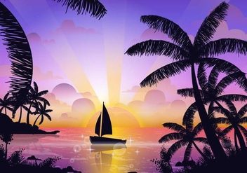Scene Of Tropical Playa - Free vector #430499
