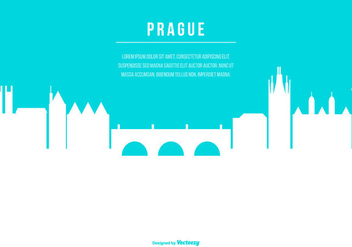 Prague Skyline Illustration with Space for Text - vector #430619 gratis