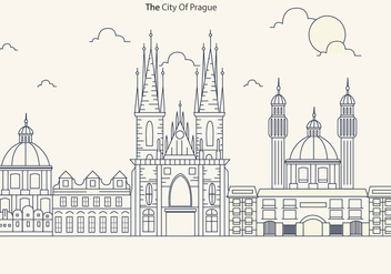 Prague City Skyline with Church Vector - vector gratuit #430629