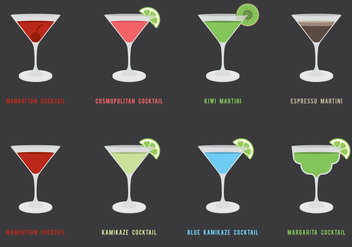 Cocktails Icon Set - Free vector #430659