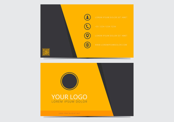 Yellow Stylish Business Card Template - vector gratuit #430719