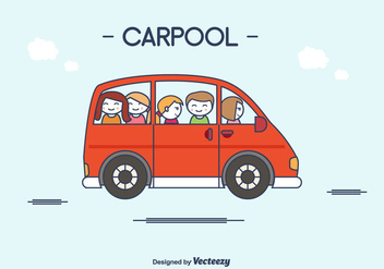 Flat Carpool Vector - Free vector #430789