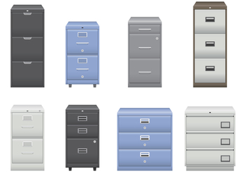 Silver and Blue File Cabinet Vectors - vector gratuit #430809