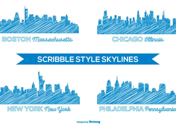 Scribble Style Skyline Set - vector #430819 gratis