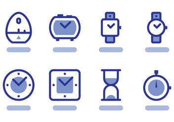 Flat Outlined Timer Icon Vectors - Free vector #430889