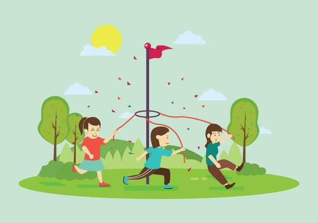 Free Maypole Stick With Children Illustration - vector gratuit #430959