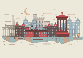 Edinburgh City Skyline Vector - vector gratuit #431079