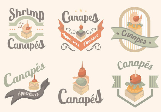 Canapes Food Gourmet Menu Label - vector gratuit #431249