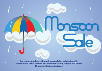 Monsoon Rain Sale Poster Vector - Free vector #431539