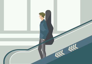 Young Musician on The Airport Escalator Vector - Free vector #431549