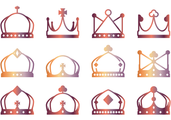 Lineart Crown Icons - Free vector #431569