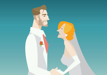 Smiling Groom And Bride Vector - Free vector #431639