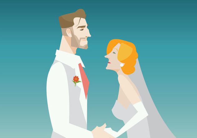 Smiling Groom And Bride Vector - vector gratuit #431639