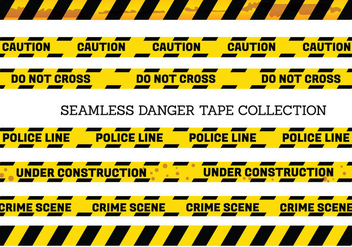 Vector Set of Seamless Danger and Caution Tapes - vector gratuit #431659
