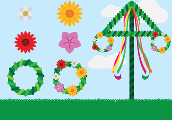 Midsummer Celebration Elements - Free vector #431679