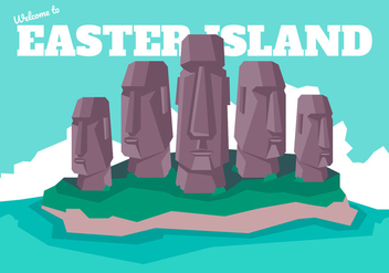 Easter Island Poscard Vector Illustration - Free vector #431719