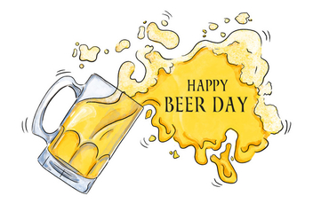 Watercolor Beer Splash To Beer Day - Kostenloses vector #431729