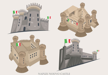 Naples Historical Nouvo Castle Building Vector Illustration - бесплатный vector #431789