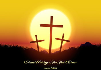 Beautiful Good Friday Landscape Illustration - vector gratuit #431799