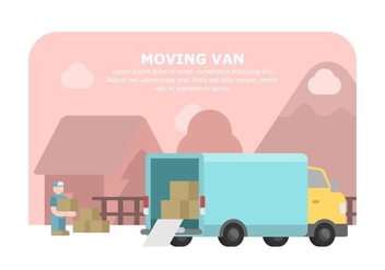 Blue Moving Van Illustration - vector #431859 gratis