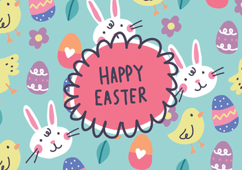 Hand Drawn Happy Easter Background Vector - Kostenloses vector #431869
