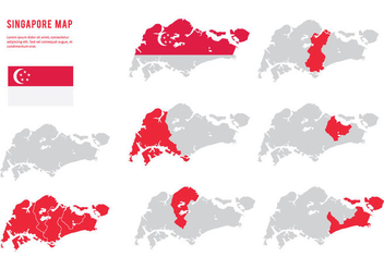 Singapore Map Collection - vector #431889 gratis