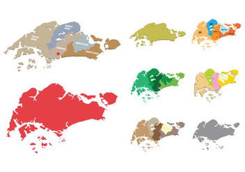 Singapore Map Vectors - vector #432119 gratis