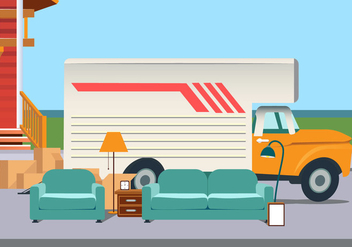 Vector Moving Van With Furniture - vector gratuit #432129