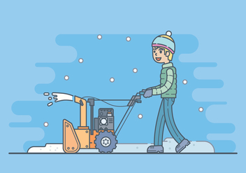 Boy With A Snow Blower Illustration - Free vector #432169