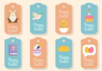 Flat Easter Gift Tag Vectors - Free vector #432199