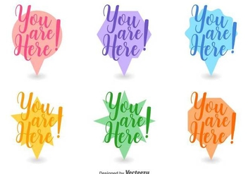 Abstract You Are Here Icon Set Vector - vector gratuit #432249